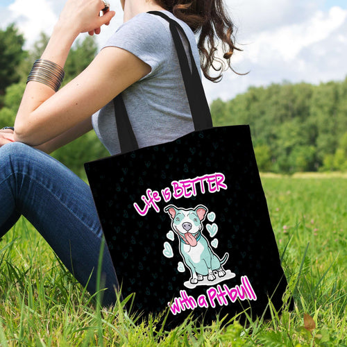 Designs by MyUtopia Shout Out:Life Is Better with a Pitbull Fabric Totebag Reusable Shopping Tote
