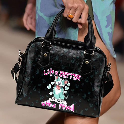 Designs by MyUtopia Shout Out:Life Is Better with a Pitbull Faux Leather Handbag with Shoulder Strap