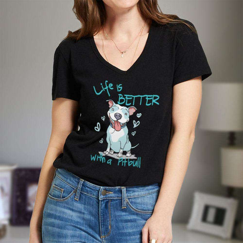 Designs by MyUtopia Shout Out:Life is Better With a Pitbull Ladies V Neck Tee