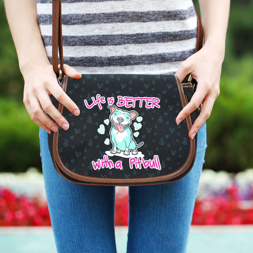Designs by MyUtopia Shout Out:Life is Better with a Pitbull Saddlebag Style Canvas Crossbody Purse