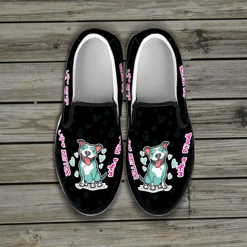Designs by MyUtopia Shout Out:Life is Better with a Pitbull Slip-on Sneakers - Black,Men's US8 (EU40) / Black,Slip on sneakers