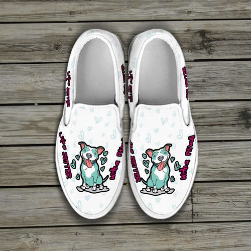 Designs by MyUtopia Shout Out:Life is Better with a Pitbull Slip-on Sneakers - White,Men's Slip Ons - Black - Men's / Men's US8 (EU40) / White,Slip on sneakers