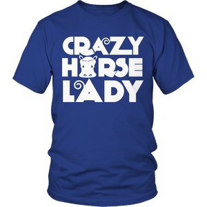 Designs by MyUtopia Shout Out:Limited Edition - Crazy Horse Lady,Unisex Shirt / Royal Blue / S,Adult Unisex T-Shirt