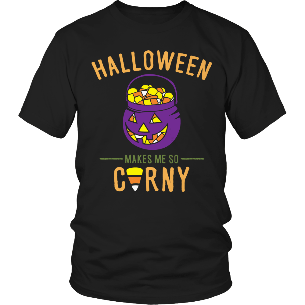Designs by MyUtopia Shout Out:Limited Edition - Halloween Makes Me Corny!,Unisex Shirt / Black / S,Adult Unisex T-Shirt