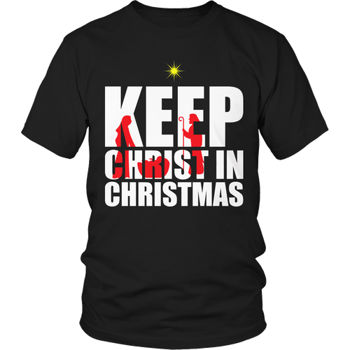 Designs by MyUtopia Shout Out:Limited Edition - Keep Christ in Christmas,Unisex Shirt / Black / S,Adult Unisex T-Shirt