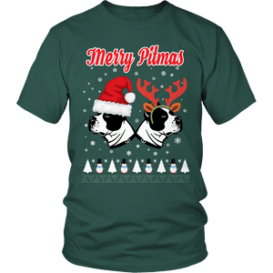 Designs by MyUtopia Shout Out:Limited Edition - Merry Pitmas,Unisex Shirt / Dark Green / S,Adult Unisex T-Shirt