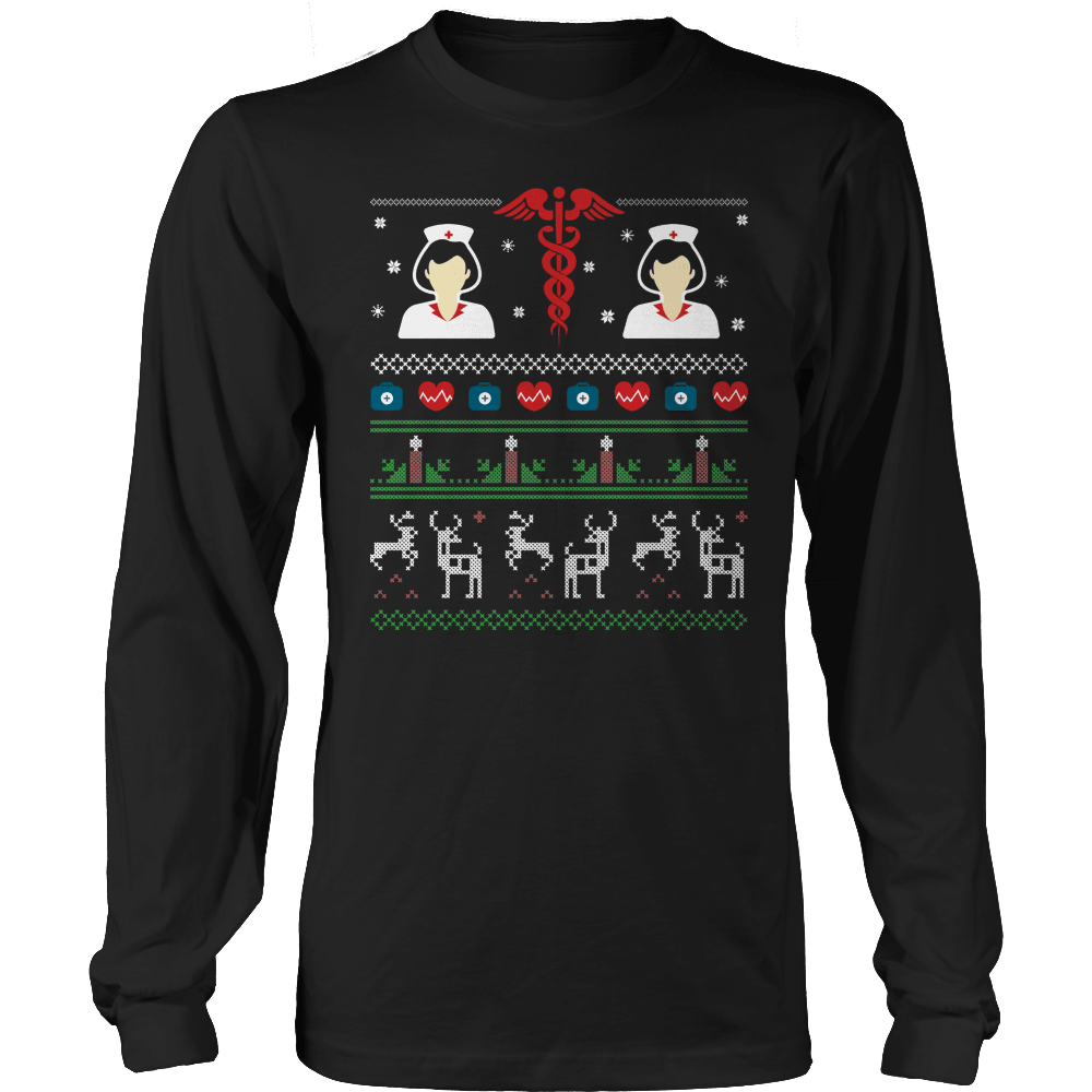 Designs by MyUtopia Shout Out:Limited Edition - Nurse Symbol Christmas,Long Sleeve / Black / S,Long Sleeve T-Shirts