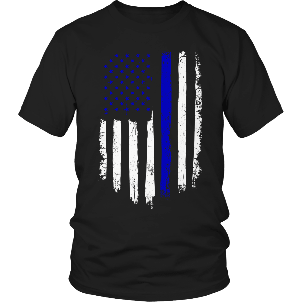 Designs by MyUtopia Shout Out:Limited Edition - Police Flag,Unisex Shirt / Black / S,Adult Unisex T-Shirt