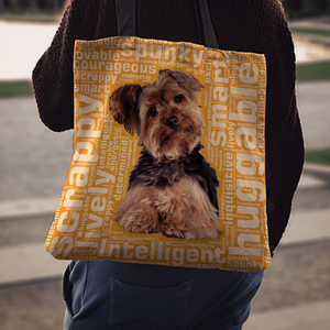 Designs by MyUtopia Shout Out:Lively Yorkie Word Cloud Fabric Totebag Reusable Shopping Tote