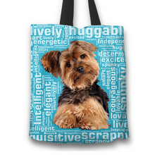 Load image into Gallery viewer, Designs by MyUtopia Shout Out:Lively Yorkie Word Cloud Fabric Totebag Reusable Shopping Tote,Blue,Reusable Fabric Shopping Tote Bag