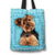 Designs by MyUtopia Shout Out:Lively Yorkie Word Cloud Fabric Totebag Reusable Shopping Tote,Blue,Reusable Fabric Shopping Tote Bag