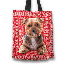 Load image into Gallery viewer, Designs by MyUtopia Shout Out:Lively Yorkie Word Cloud Fabric Totebag Reusable Shopping Tote,Red,Reusable Fabric Shopping Tote Bag