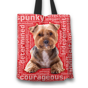 Designs by MyUtopia Shout Out:Lively Yorkie Word Cloud Fabric Totebag Reusable Shopping Tote,Red,Reusable Fabric Shopping Tote Bag