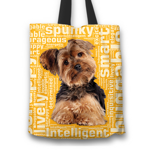 Designs by MyUtopia Shout Out:Lively Yorkie Word Cloud Fabric Totebag Reusable Shopping Tote,Gold,Reusable Fabric Shopping Tote Bag