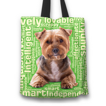Load image into Gallery viewer, Designs by MyUtopia Shout Out:Lively Yorkie Word Cloud Fabric Totebag Reusable Shopping Tote,Green,Reusable Fabric Shopping Tote Bag