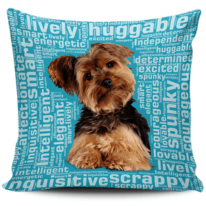 Designs by MyUtopia Shout Out:Lively Yorkie Word Cloud Pillowcases,Blue,Pillowcases