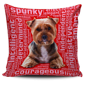 Designs by MyUtopia Shout Out:Lively Yorkie Word Cloud Pillowcases,Red,Pillowcases