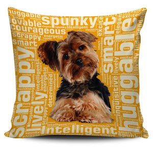 Designs by MyUtopia Shout Out:Lively Yorkie Word Cloud Pillowcases,Gold,Pillowcases