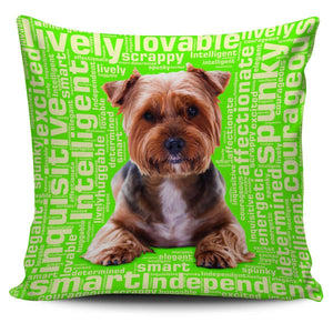 Designs by MyUtopia Shout Out:Lively Yorkie Word Cloud Pillowcases,Green,Pillowcases