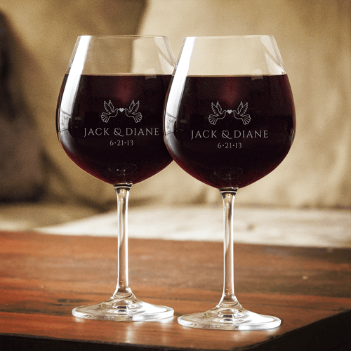 Designs by MyUtopia Shout Out:Love Birds Wine Glass Set (Pair) Personalized Engraving