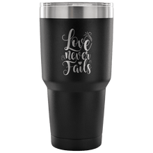 Load image into Gallery viewer, Designs by MyUtopia Shout Out:Love Never Fails Engraved Insulated Double Wall Steel Tumbler Travel Mug,Black / 30 Oz,Polar Camel Tumbler
