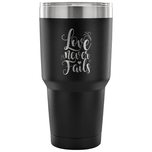 Designs by MyUtopia Shout Out:Love Never Fails Engraved Insulated Double Wall Steel Tumbler Travel Mug,Black / 30 Oz,Polar Camel Tumbler