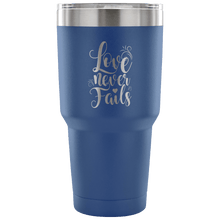 Load image into Gallery viewer, Designs by MyUtopia Shout Out:Love Never Fails Engraved Insulated Double Wall Steel Tumbler Travel Mug,Royal Blue / 30 Oz,Polar Camel Tumbler