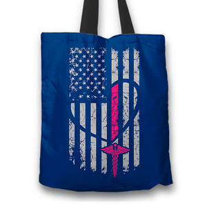 Designs by MyUtopia Shout Out:Love Nursing and USA Fabric Totebag Reusable Shopping Tote