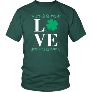 Designs by MyUtopia Shout Out:Love St. Patrick's Day T-shirt,Dark Green / S,Adult Unisex T-Shirt