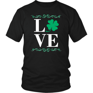 Designs by MyUtopia Shout Out:Love St. Patrick's Day T-shirt,Black / S,Adult Unisex T-Shirt