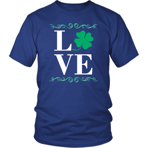 Designs by MyUtopia Shout Out:Love St. Patrick's Day T-shirt,Royal Blue / S,Adult Unisex T-Shirt