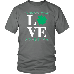 Designs by MyUtopia Shout Out:Love St. Patrick's Day T-shirt,Grey / S,Adult Unisex T-Shirt