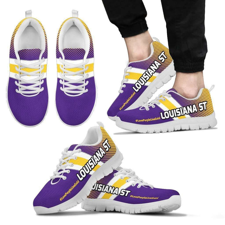 Designs by MyUtopia Shout Out:#LovePurpleLiveGold Louisiana St Fan Running Shoes