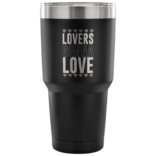 Designs by MyUtopia Shout Out:Lovers Gonna Love Engraved Insulated Double Wall Steel Tumbler Travel Mug,Black / 30 Oz,Polar Camel Tumbler