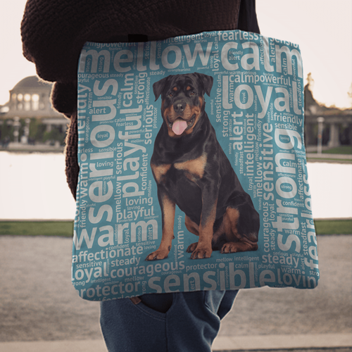 Designs by MyUtopia Shout Out:Loving Rottweiler Fabric Totebag Reusable Shopping Tote