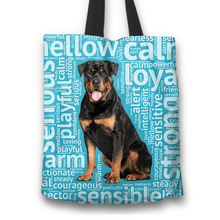 Load image into Gallery viewer, Designs by MyUtopia Shout Out:Loving Rottweiler Fabric Totebag Reusable Shopping Tote,Blue,Reusable Fabric Shopping Tote Bag