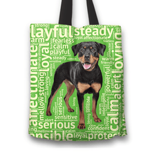 Load image into Gallery viewer, Designs by MyUtopia Shout Out:Loving Rottweiler Fabric Totebag Reusable Shopping Tote,Green,Reusable Fabric Shopping Tote Bag