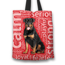 Load image into Gallery viewer, Designs by MyUtopia Shout Out:Loving Rottweiler Fabric Totebag Reusable Shopping Tote,Red,Reusable Fabric Shopping Tote Bag