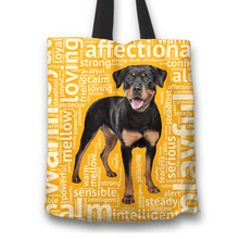 Load image into Gallery viewer, Designs by MyUtopia Shout Out:Loving Rottweiler Fabric Totebag Reusable Shopping Tote,Gold,Reusable Fabric Shopping Tote Bag