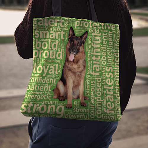 Designs by MyUtopia Shout Out:Loyal German Shepherd Fabric Totebag Reusable Shopping Tote