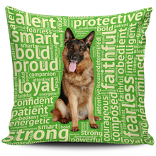 Load image into Gallery viewer, Designs by MyUtopia Shout Out:Loyal German Shepherd Pillowcases,Green,Pillowcases