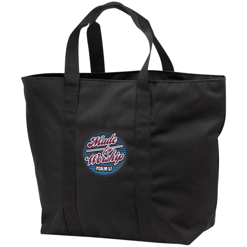 Designs by MyUtopia Shout Out:Made To Worship Psalm 57 Embroidered All Purpose Tote Bag w Zipper Closure and side pocket,Black/Black / One Size,Totebag