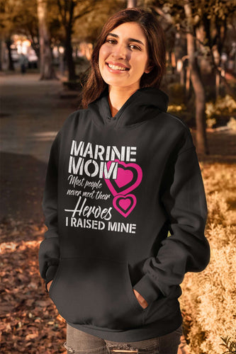 Designs by MyUtopia Shout Out:Marine Mom Core Fleece Pullover Hoodie