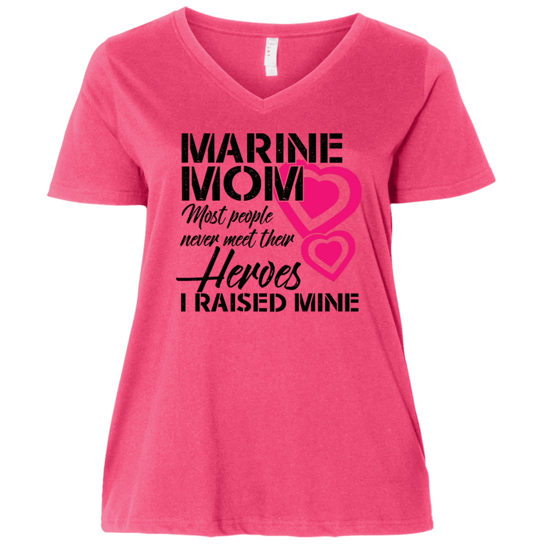 Designs by MyUtopia Shout Out:Marine Mom Ladies' Curvy V-Neck Plus Size T-Shirt,Hot Pink/ / Plus 1X,T-Shirts