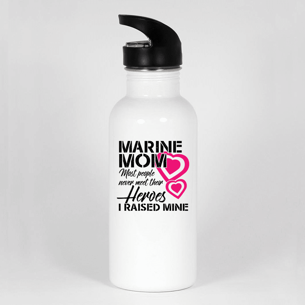 Designs by MyUtopia Shout Out:Marine Mom Water Bottle,White,Water Bottle