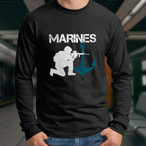 Designs by MyUtopia Shout Out:Marines Patriotic Anchor Long Sleeve Ultra Cotton T-Shirt