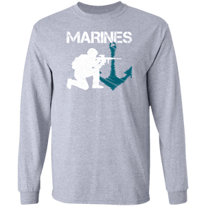 Designs by MyUtopia Shout Out:Marines Patriotic Anchor Long Sleeve Ultra Cotton T-Shirt,Sport Grey / S,Long Sleeve T-Shirts