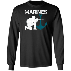 Designs by MyUtopia Shout Out:Marines Patriotic Anchor Long Sleeve Ultra Cotton T-Shirt,Black / S,Long Sleeve T-Shirts