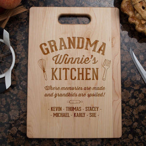 Designs by MyUtopia Shout Out:Memories Are Made In Grandma's Kitchen Personalized Engraved Cutting Board,🌟  Best Value 9 3/4″ X 13.5″,Cutting Board