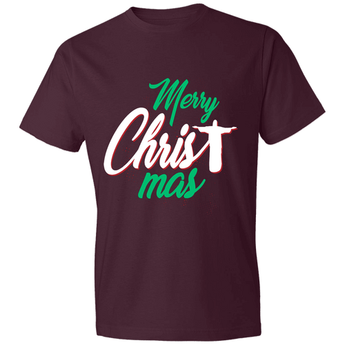 Designs by MyUtopia Shout Out:Merry CHRISTmas - Lightweight Unisex T-Shirt,Maroon / S,Adult Unisex T-Shirt